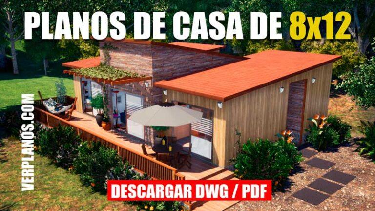 plano de casa de 1 piso de campo con medidas de 1 piso con 2 dormitorios dwg para autocad