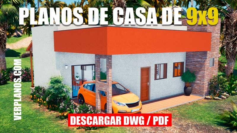 Plano de casa de 1 piso y 3 dormitorios con medidas formato dwg para autocad