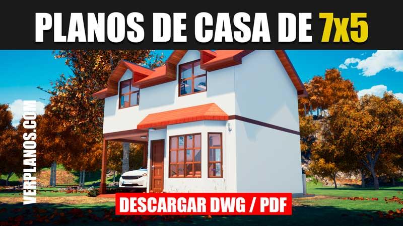 plano de casa pequeña económica 2 pisos autocad