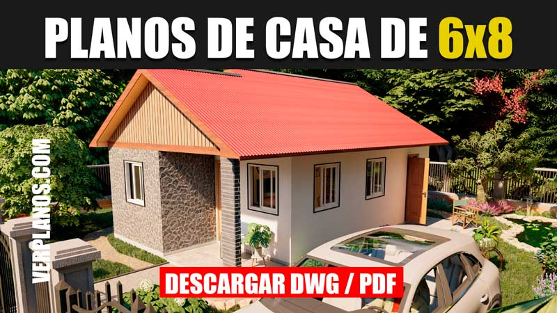Plano de casa de 1 piso y 3 dormitorios en autocad y pdf gratis