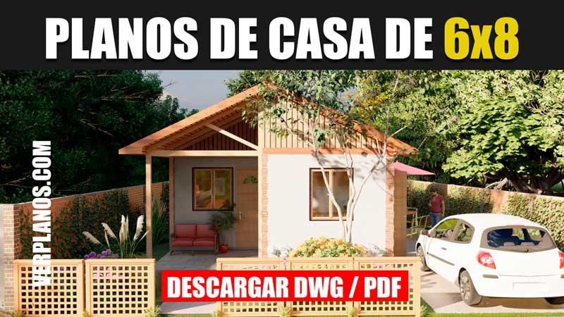planos de casa de 1 piso y 2 dormitorios en autocad y pdf
