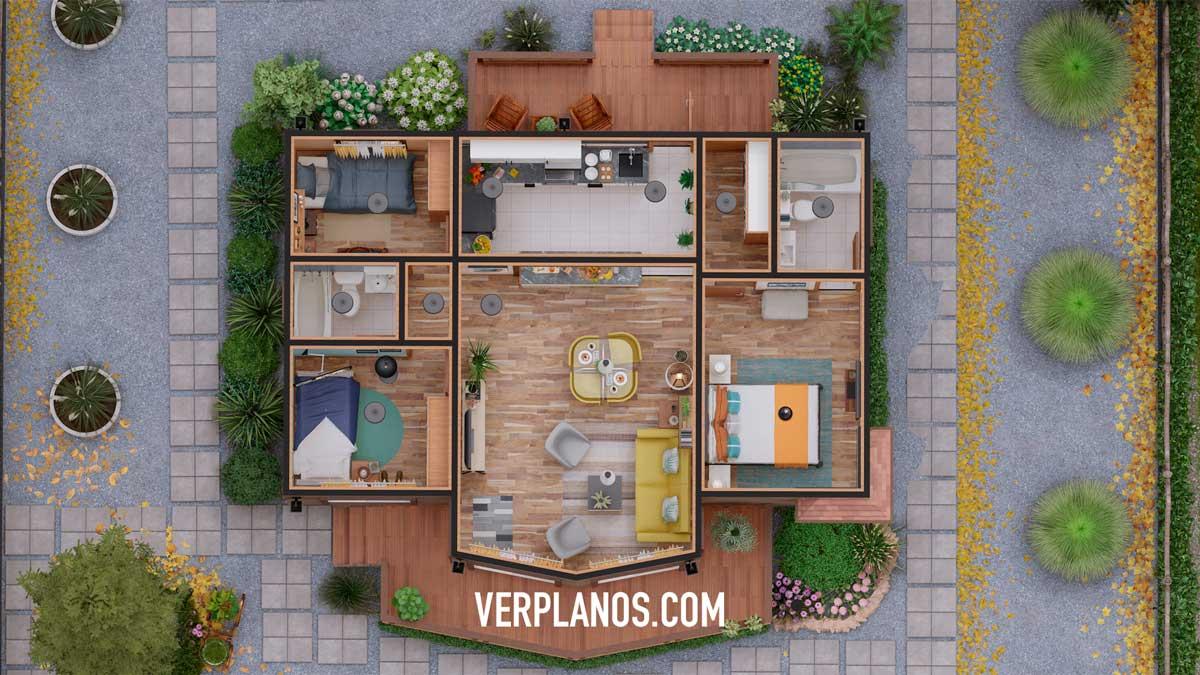 Vista previa planta plano de casa prefabricada