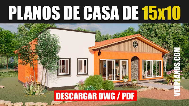 plano de casa 1 piso con 3 dormitorios y 2 baños en autocad y pdf