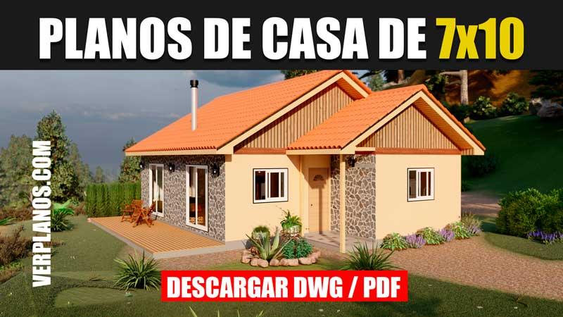 plano de casa de 1 piso 2 dormitorios 1 baño en autocad pdf gratis