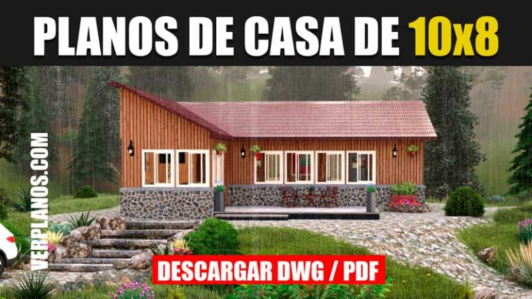 plano de casa de 1 piso 3 dormitorios 2 baños en autocad y pdf gratis