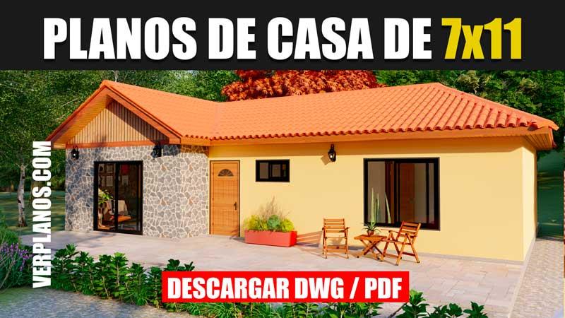 planos de casa de campo con medidas de 1 piso y 2 dormitorios 1 baño en autocad y pdf gratis