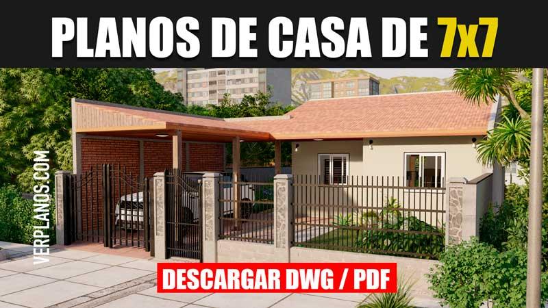 planos de casa de 1 piso con 2 dormitorios 1 baño en autocad y pdf gratis