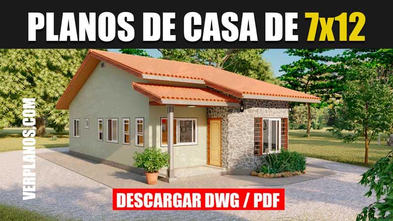 Plano de casa de 1 piso 3 dormitorios 2 baños en autocad gratis y pdf