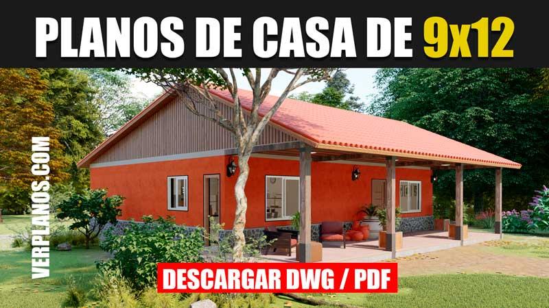 Plano de casa 1 piso 3 dormitorios 2 baños en autocad y pdf GRATIS
