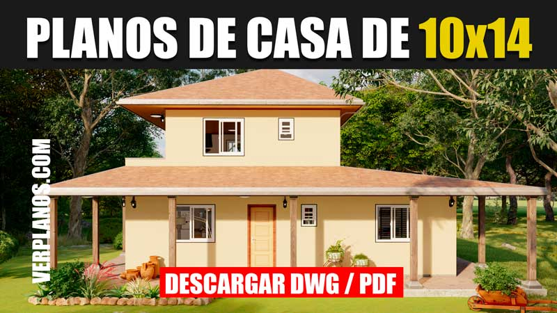 planos de casa de campo de 2 pisos 3 dormitorios y 2 baños en Autocad y PDF GRATIS
