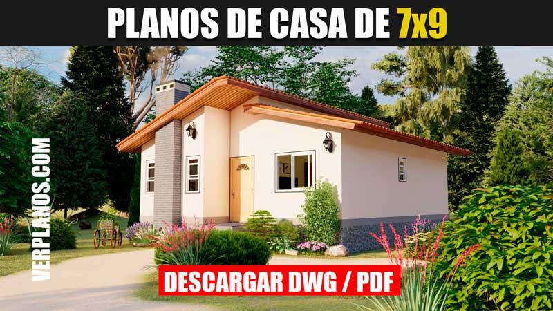 planos de casa de 1 piso 2 dormitorios 1 baño para descargar gratis en autocad y pdf