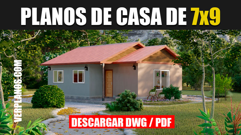 Diseño de plano de casa de 1 piso con 3 dormitorios y 1 baño gratis en autocad y pdf