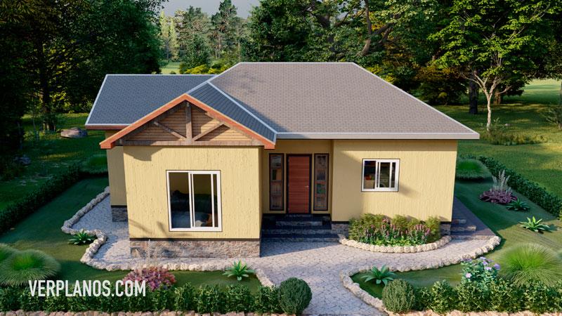 fachada plano de casa vista previa en tres dimensiones