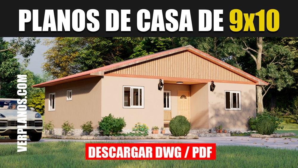 Plano de casa campestre 1 piso 3 dormitorios en autocad y pdf