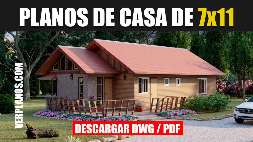Plano de casa de campo con medidas de 1 piso con 3 dormitorios en formato DWG para Autocad y PDF ¡Gratis!