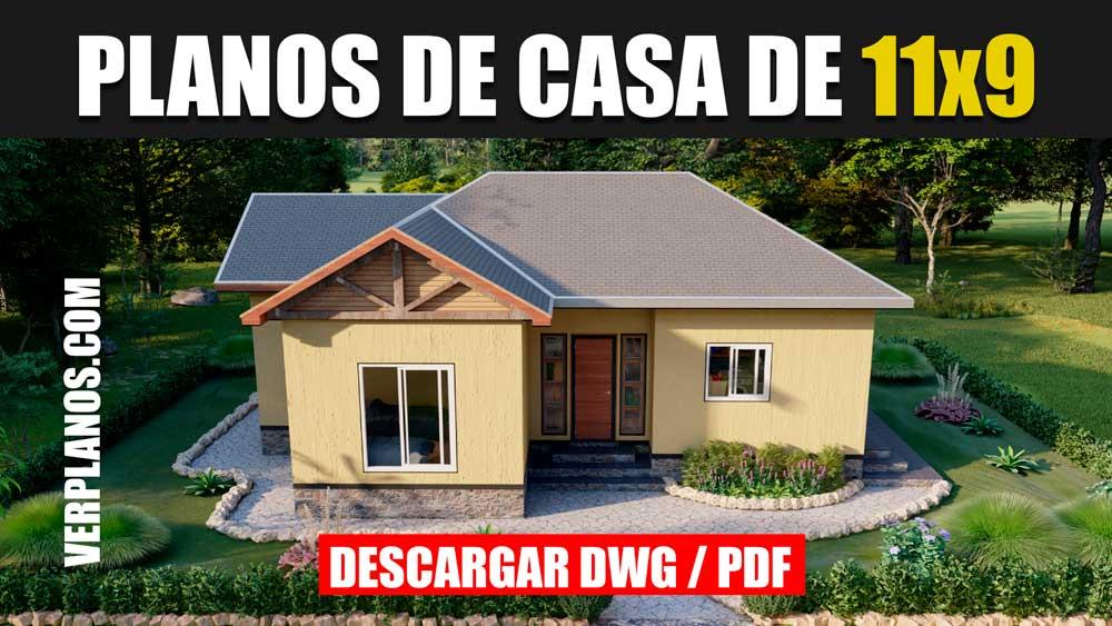 plano de una casa con 2 dormitorios y 1 baño gratis en formato AutoCAD y PDF descargar