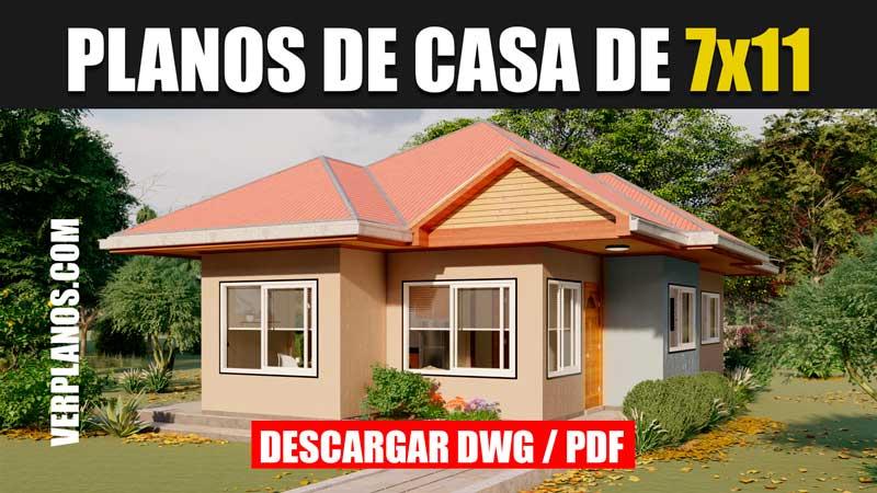 Planos de casa económica pequeña 1 piso 3 dormitorios 2 baños en autocad y pdf gratis