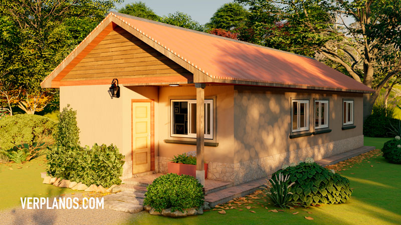 vista previa fachada plano de casa 1 piso 2 dormitorios gratis