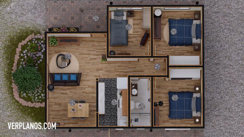 Vista previa en planta del diseño de casa
