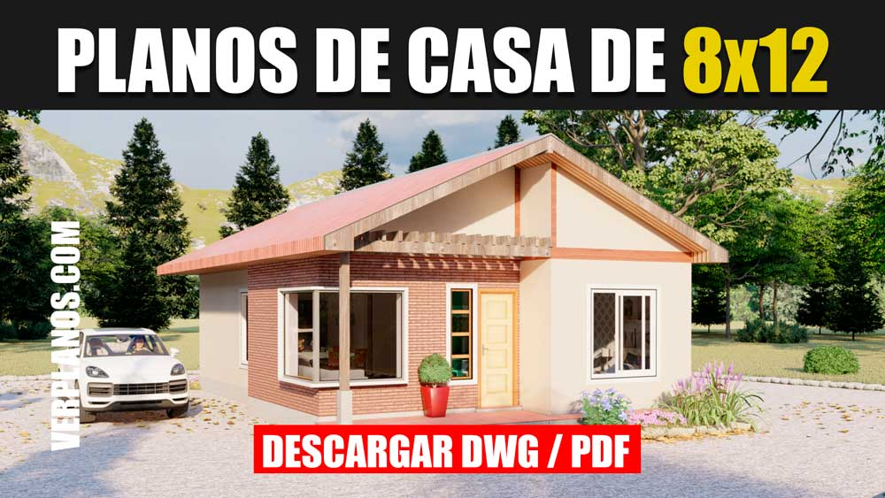 diseño de planos de casa de 1 piso 3 dormitorios 2 baños en dwg y pdf gratis