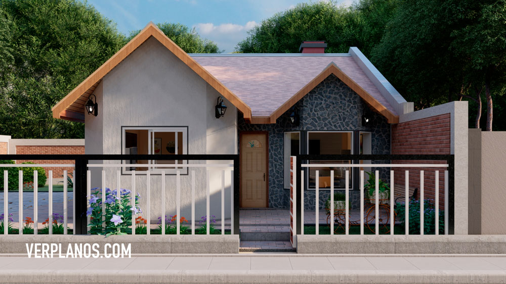 Fachada plano de casa de 1 piso con 3 dormitorios en autocad y pdf para descargar gratis