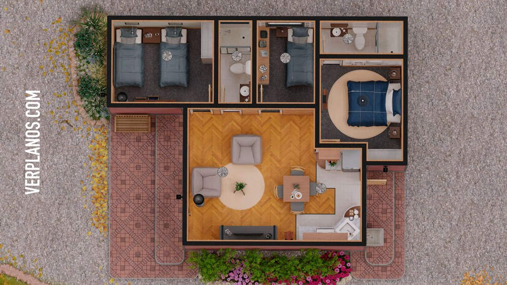 planos de casa de 1 piso 3 dormitorios vista previa planta