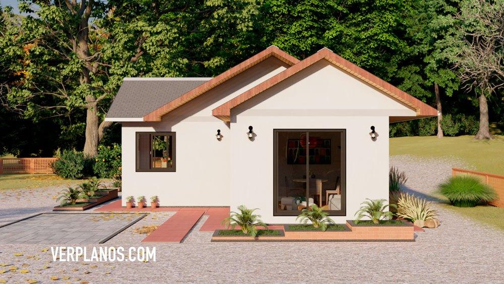 Planos de casa económica de 3 dormitorios vista previa fachada
