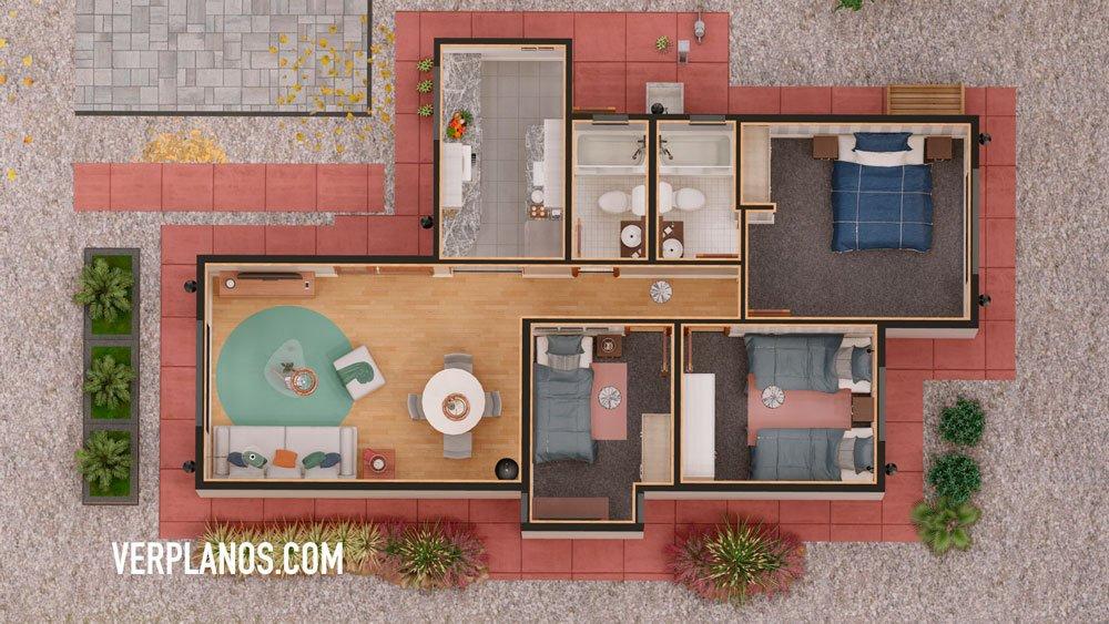 Planos de casa económica 3 dormitorios vista previa planta