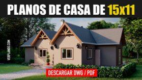 Planos de casa de campo gratis en DWG para Autocad y PDF 3 dormitorios 2 baños
