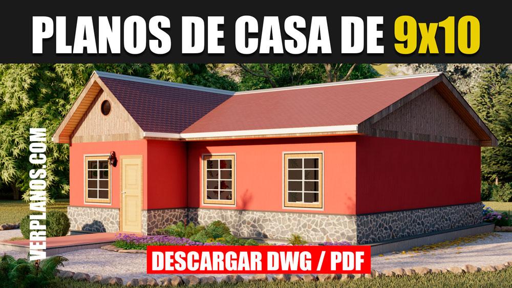 Planos de casa de campo 1 piso 3 dormitorios 2 baños en Autocad y PDF ¡Gratis!