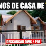 planos de casa económica adosada en autocad y pdf de 1 piso con 3 dormitorios y 1 baño gratis