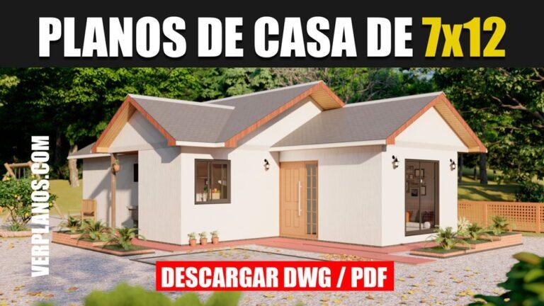 Planos de casa pequeña y económica gratis en dwg para autocad y pdf de 1 piso con 3 dormitorios y 2 baños