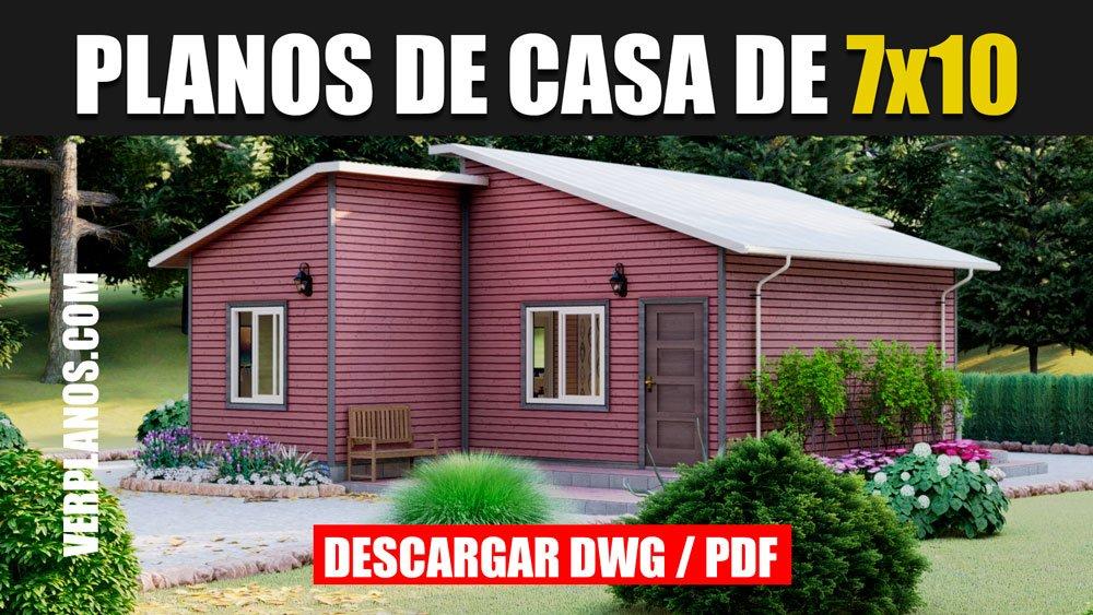 Planos de casa prefabricada de 1 piso con 3 dormitorios y 2 baños en autocad y pdf