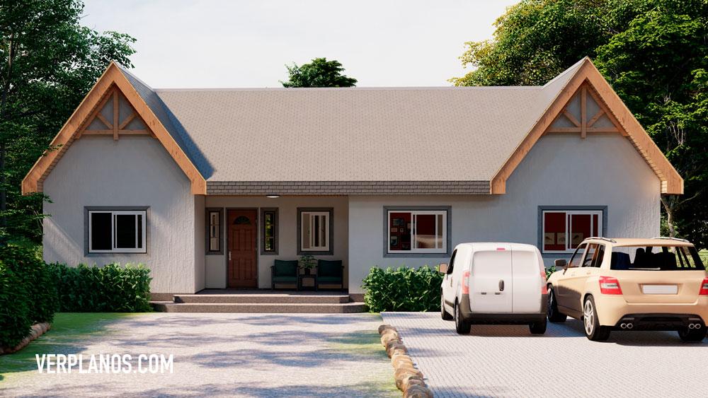 Vista previa fachada principal plano de casa