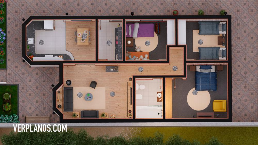 vista previa plano de casa planta en autocad y pdf gratis para descargar en autocad y pdf
