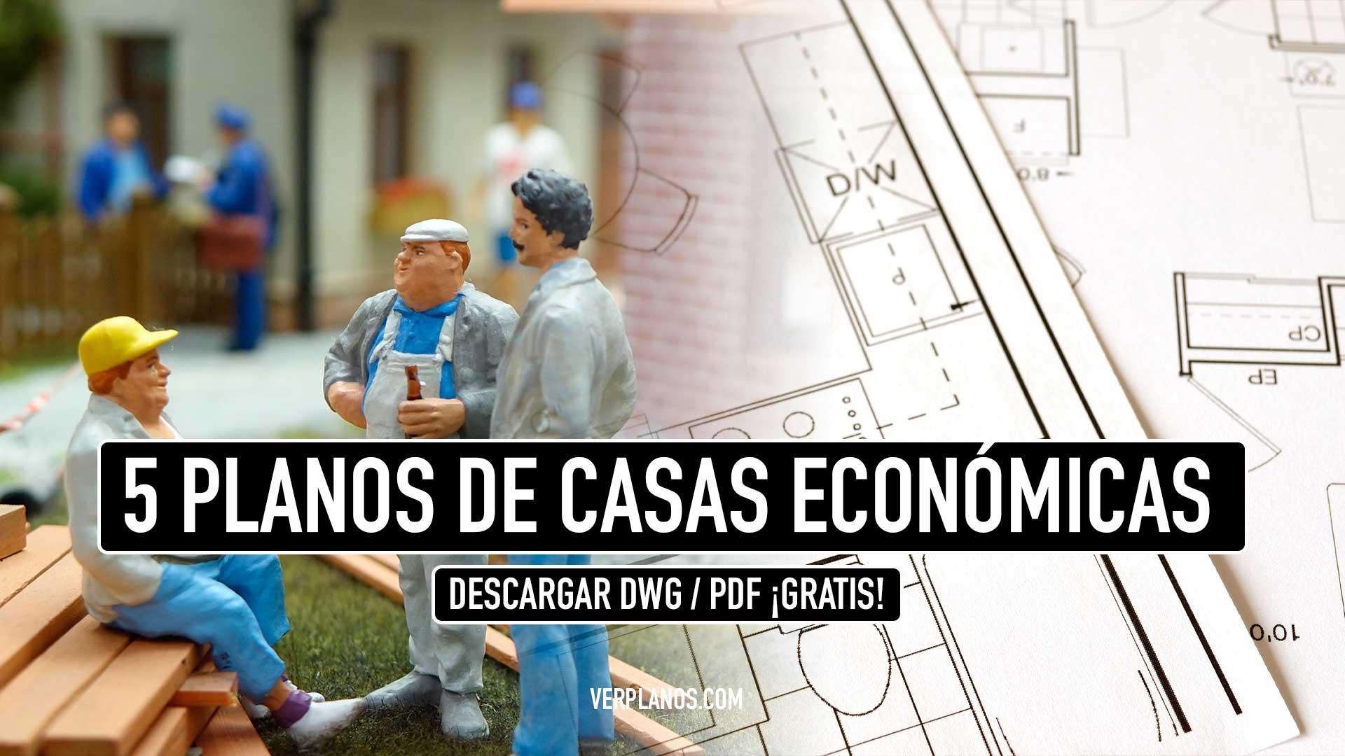 5 Planos de casas prefabricadas económicas y pequeñas gratis en Autocad y PDF Descargar