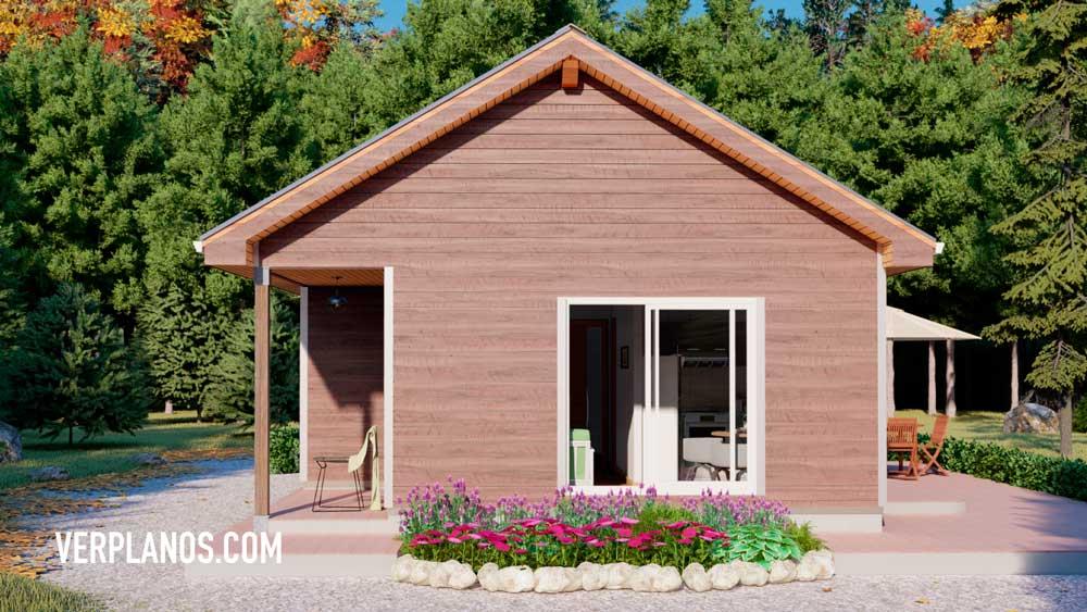 Fachada planos de casa de campo o cabaña de 3 dormitorios 1 baño vista previa en 3D