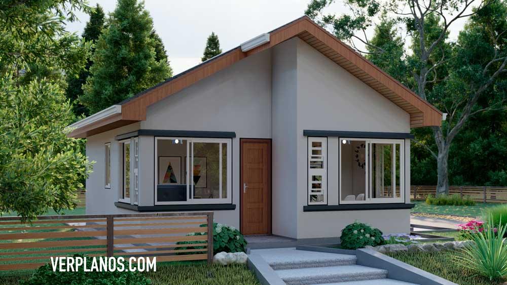Vista previa de su fachada del plano de casa económica y pequeña