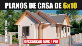 Plano de casa pequeña de 1 piso con 3 dormitorios económica en DWG Para Autocad y PDF