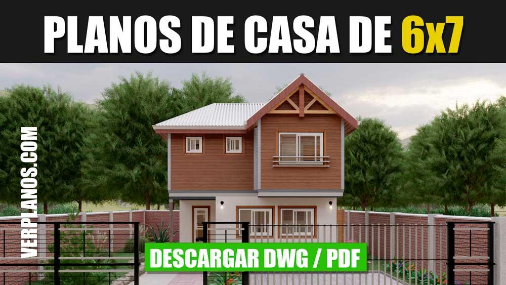 Plano de casa de 2 pisos con 3 dormitorios y 2 baños y medio en DWG para Autocad y PDF ¡Gratis!