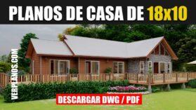 Plano de casa de campo de 1 piso con 4 dormitorios 2 baños en DWG para Autocad y PDF ¡GRATIS!