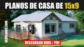plano de casa de campo de 3 dormitorios 2 baños gratis en autocad y pdf descargar