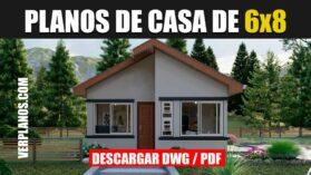 Plano de casa económica y pequeña gratis en dwg y pdf para autocad