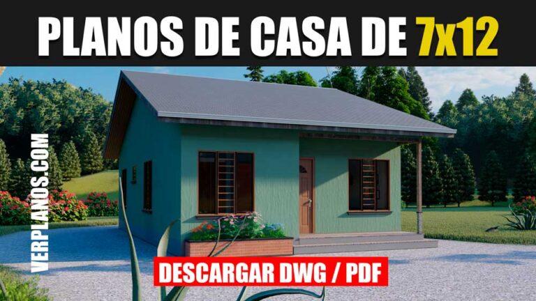 Plano de casa para sitio angosto de 3 dormitorios y 2 baños gratis en AutoCAD y PDF