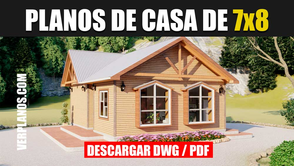 Planos de casa Prefabricada de 1 piso 2 dormitorios 1 baño gratis en autocad y pdf