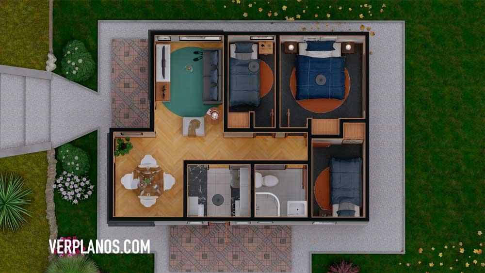 Vista en planta de la distribución de este plano de casa en autocad