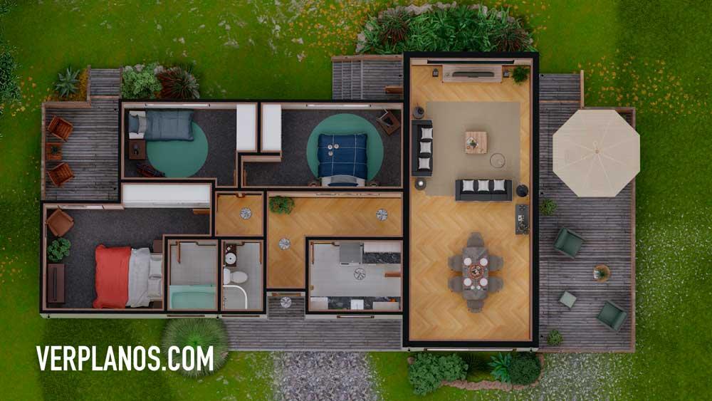 Vista previa en planta de plano de casa gratis