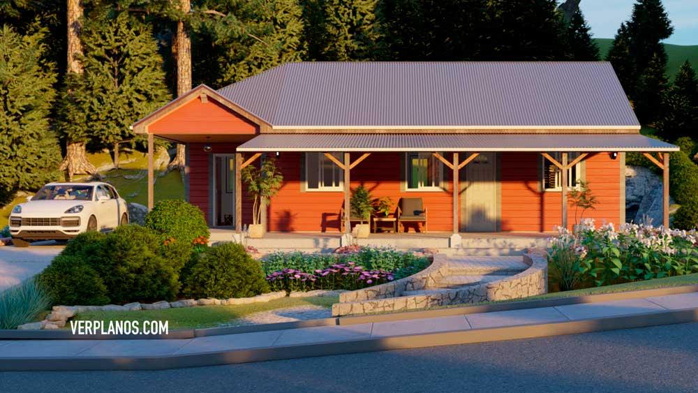 Vista previa de su fachada plano de casa de campo
