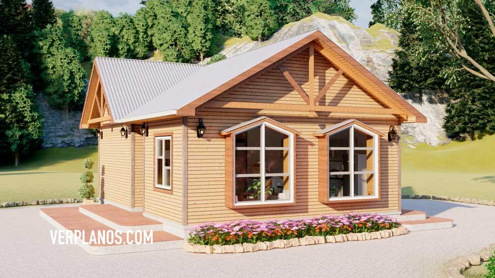Vista previa de la fachada del plano de Casa Prefabricada