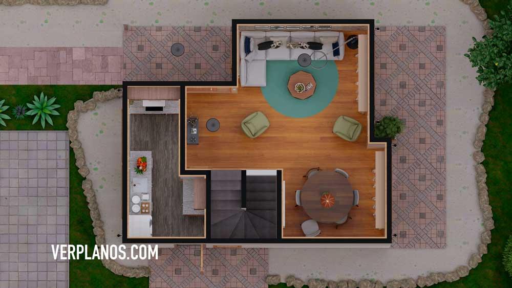 Vista previa plano de casa planta primer piso